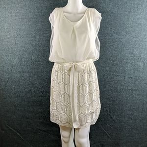 Candie's Beaded Blouson Sheer, Lined Tunic Dress